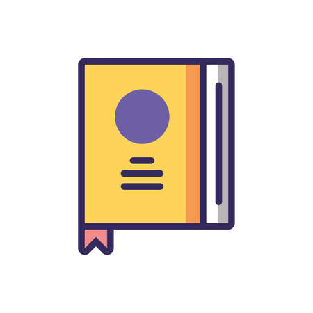 dictionary book icon over white background, colorful line and fill style, vector illustration
