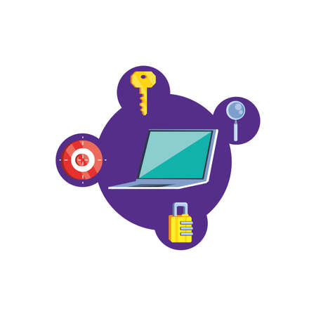 laptop with security icons vector illustration design