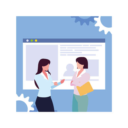 businesswomen meeting on global planning and marketing research vector illustration design