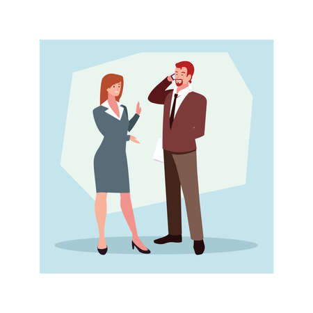 couple of people business standing , business professional people vector illustration design 向量圖像