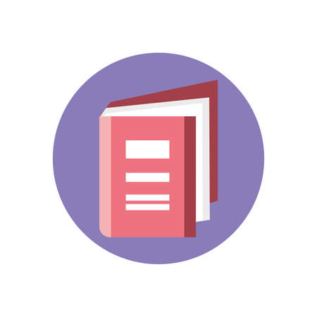 cartoon book icon over white background, colorful block style, vector illustration Ilustracja