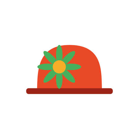 clown hat with flower over white background, flat style icon, vector illustration