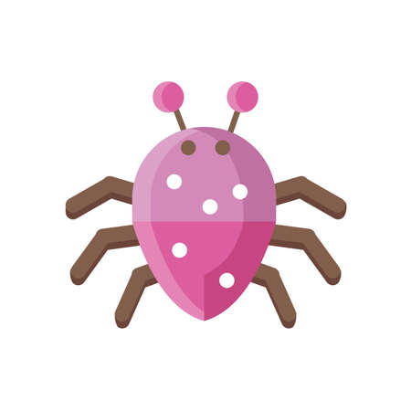 cartoon spider icon over white background, flat detail style, vector illustration