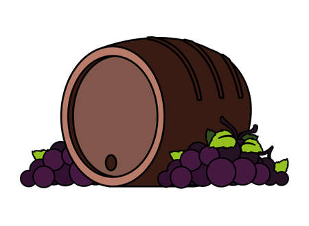 grapes branches and wine barrel on white background vector illustration design Ilustração