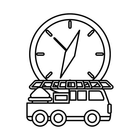 fire truck with watch on white background vector illustration design  イラスト・ベクター素材