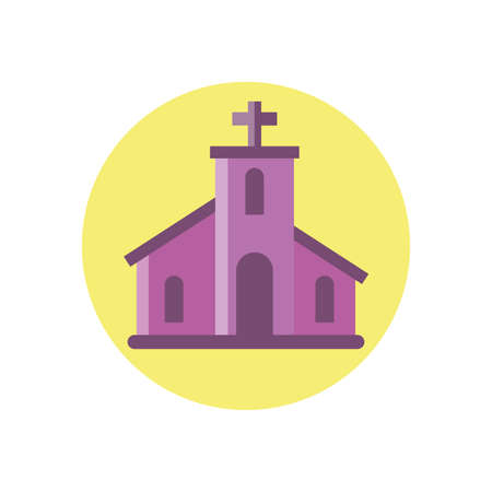 catholic church over white background, block style icon, vector illustration