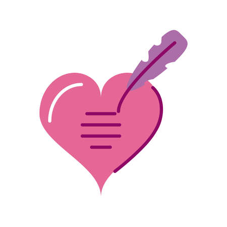 cute heart with feather, half line and color style icon vector illustration design