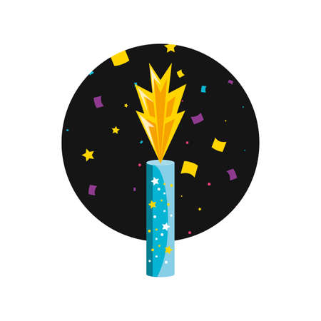 birthday candle in frame circular vector illustration design