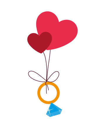 engagement ring hanging hearts, valentines day vector illustration design Ilustracja