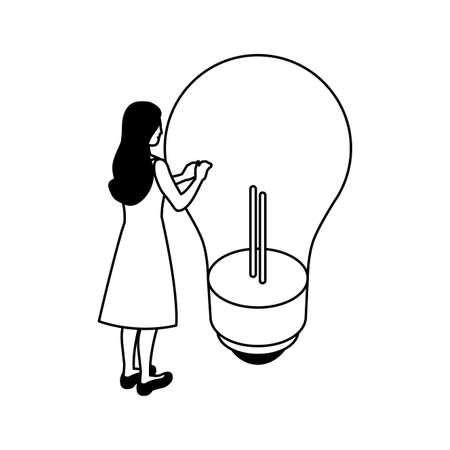 businesswoman with light bulb on white background vector illustration design 일러스트