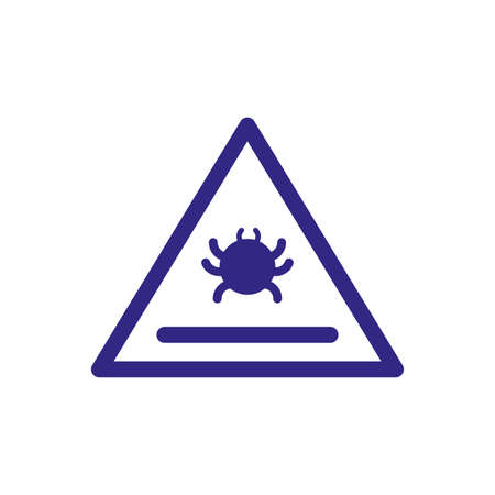 virus warning sign icon over white background, thick line style, vector illustration
