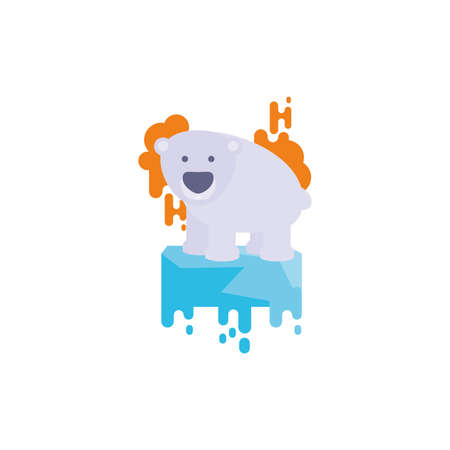 Bear animal over melted ice design, Climate change global warning pollution environment nature green and extreme danger theme Vector illustration