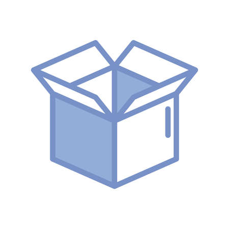 opened box icon over white background, blue outline style, vector illustration