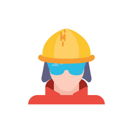 Firefighter with helmet and glasses design, Emergency rescue save department 911 danger help safety and aid theme Vector illustration Ilustração