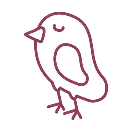 cute bird on white background, line style icon vector illustration design