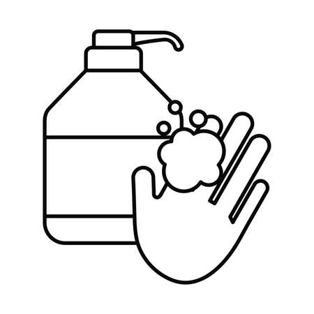 washing hands, line style icon vector illustration design