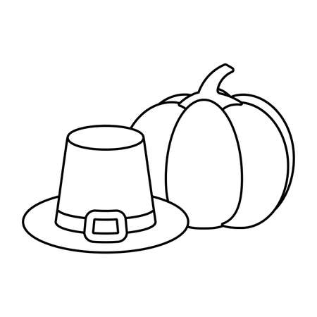 Hat and pumpkin of thanksgiving day design, Autumn season holiday greeting and traditional theme Vector illustration