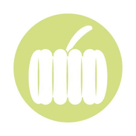 pumpkin vegetable icon over white background, block style, vector illustration