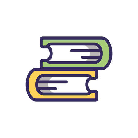 books icon over white background, colorful line and fill style, vector illustration