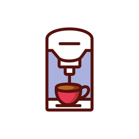 Coffee cup and machine design of time drink breakfast beverage shop morning store aroma and caffeine theme Vector illustration