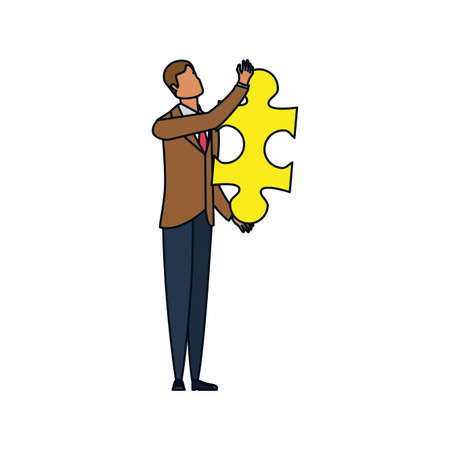 businessman with puzzle piece isolated icon vector illustration design  イラスト・ベクター素材