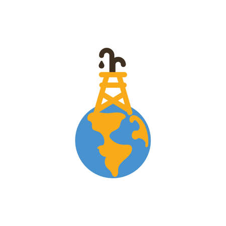 Oil tower over world design, Fracking industry fuel technology power industrial production and petroleum theme Vector illustration  イラスト・ベクター素材