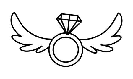 engagement ring with wings on white background vector illustration design