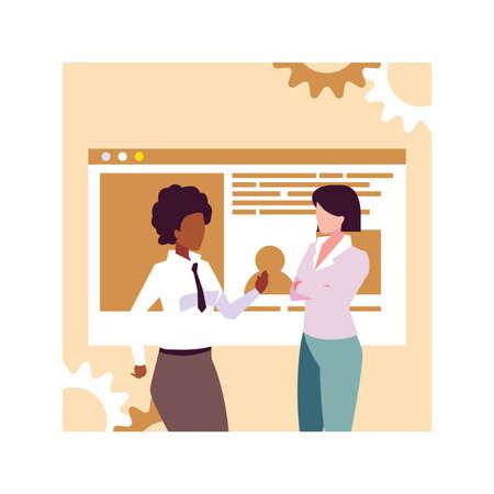 businesswomen in the work office, business professional women vector illustration design 向量圖像