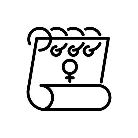 calendar with female gender symbol over white background, line style icon, vector illustration