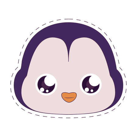penguin cartoon design, Kawaii expression cute character funny and emoticon theme Vector illustration