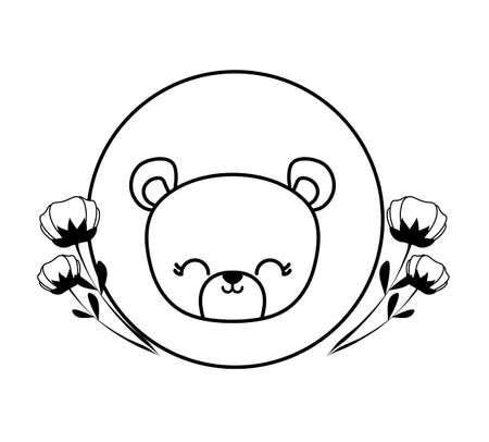 head of cute bear in frame circular with flowers vector illustration design