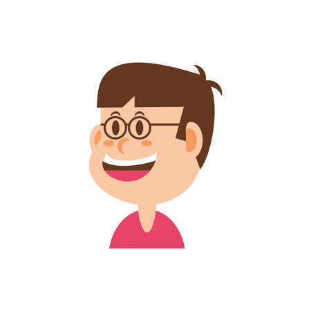 boy cartoon with glasses design, Kid childhood little people lifestyle casual person cheerful and cute theme Vector illustration Foto de archivo - 142868380