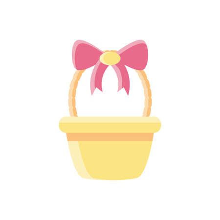 basket with decorative bow over white background, flat style icon, vector illustration