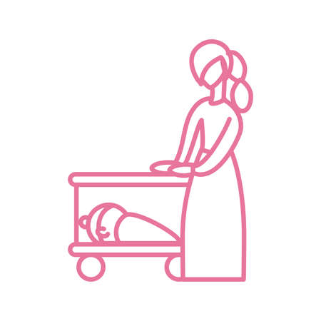 woman with baby in the cot, line style icon vector illustration design 向量圖像