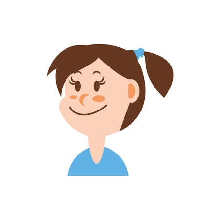 Girl cartoon with brown hair design, Kid childhood little people lifestyle casual person cheerful and cute theme Vector illustration Foto de archivo - 142870772