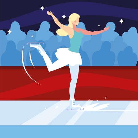 woman practicing figure skating , ice sport vector illustration design