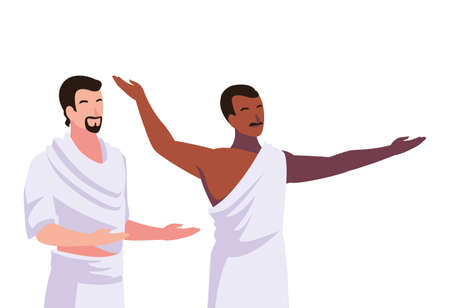 men pilgrim hajj on white background vector illustration design 向量圖像