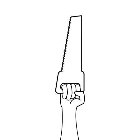hands saw construction tool vector illustration design Ilustracja
