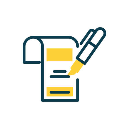 document and highlighter pen icon over white background, half color style, vector illustration