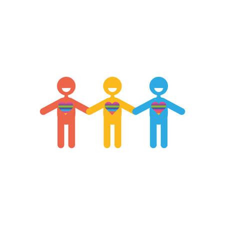 Avatars men of zero discrimination day, flat style icon vector illustration design