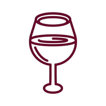 oversized wine glass icon over white background, line style icon, vector illustration