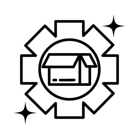 gearwheel tool , line style icon vector illustration design