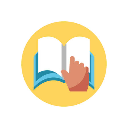 hand pointing a book page over white background, colorful block style, vector illustration