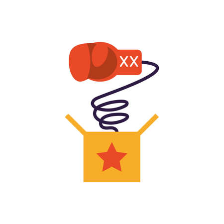 joke box with boxing glove over white background, flat style icon, vector illustration