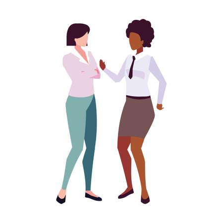 businesswomen with standing on white background vector illustration design