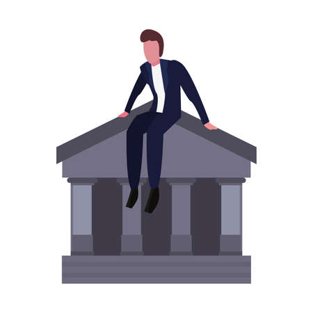 businessman sitting on bank on white background vector illustration