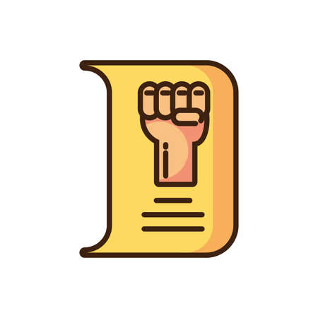 paper with hand with fist up icon over white background, colorful fill style, vector illustration design Ilustração