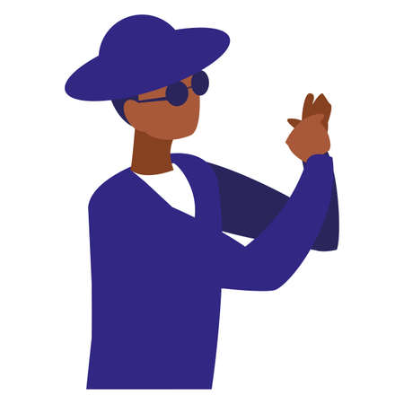 black musician jazz with hat and sunglasses vector illustration design Ilustrace