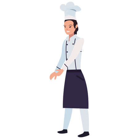 chef woman profession labour day vector illustration design