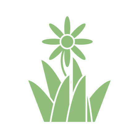 beautiful flower and grass icon over white background, silhouette style, vector illustration 矢量图像